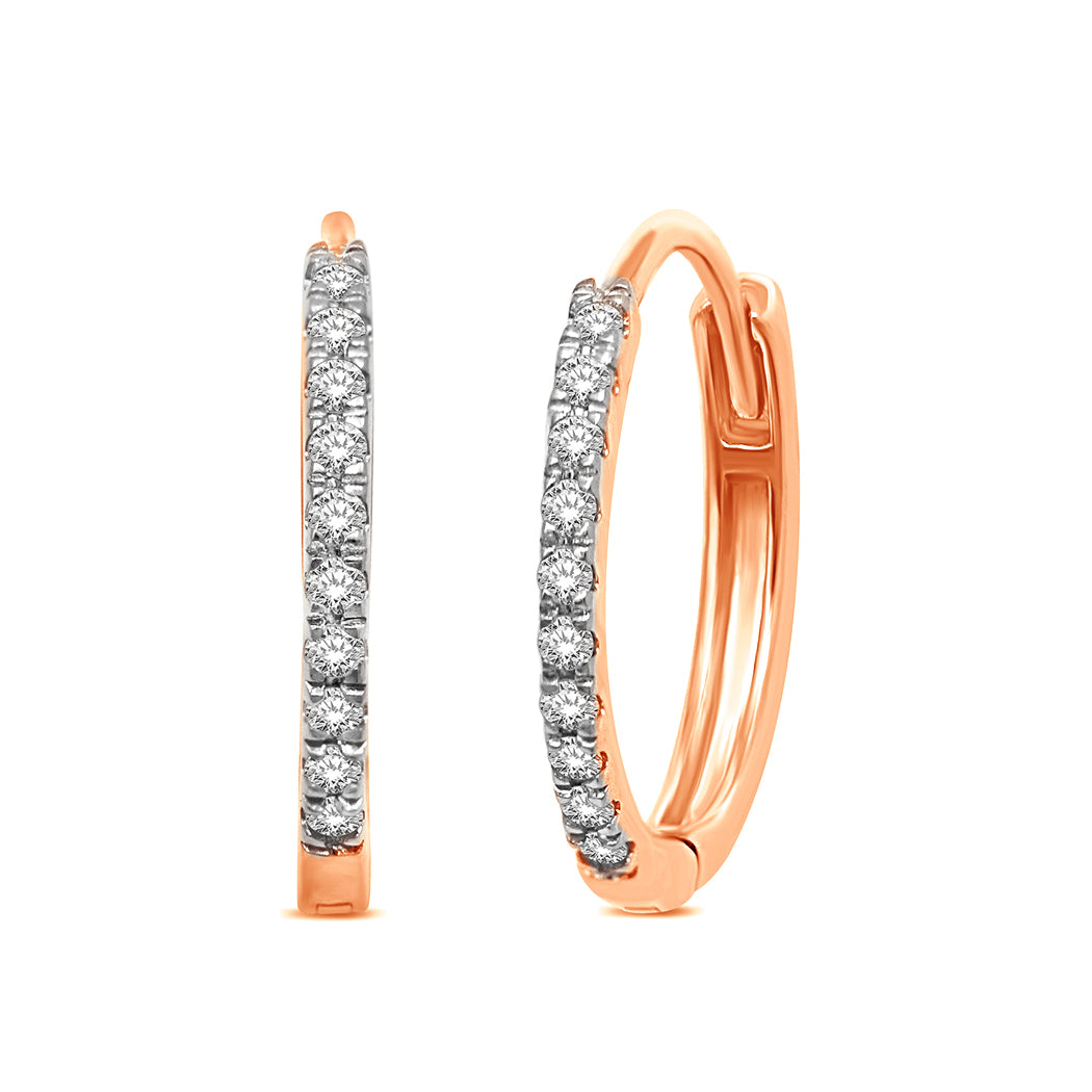 14K Rose Gold  1/10 Ct.Tw.Diamond Stackable Earrings