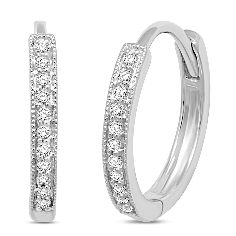 14K White Gold  1/10 Ct.Tw.Diamond Stackable Earrings