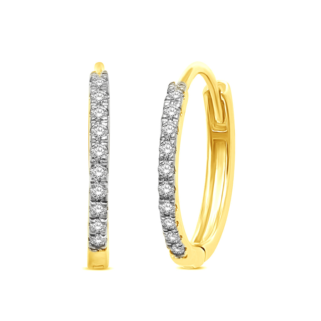 14K Yellow Gold  1/10 Ct.Tw.Diamond Stackable Earrings