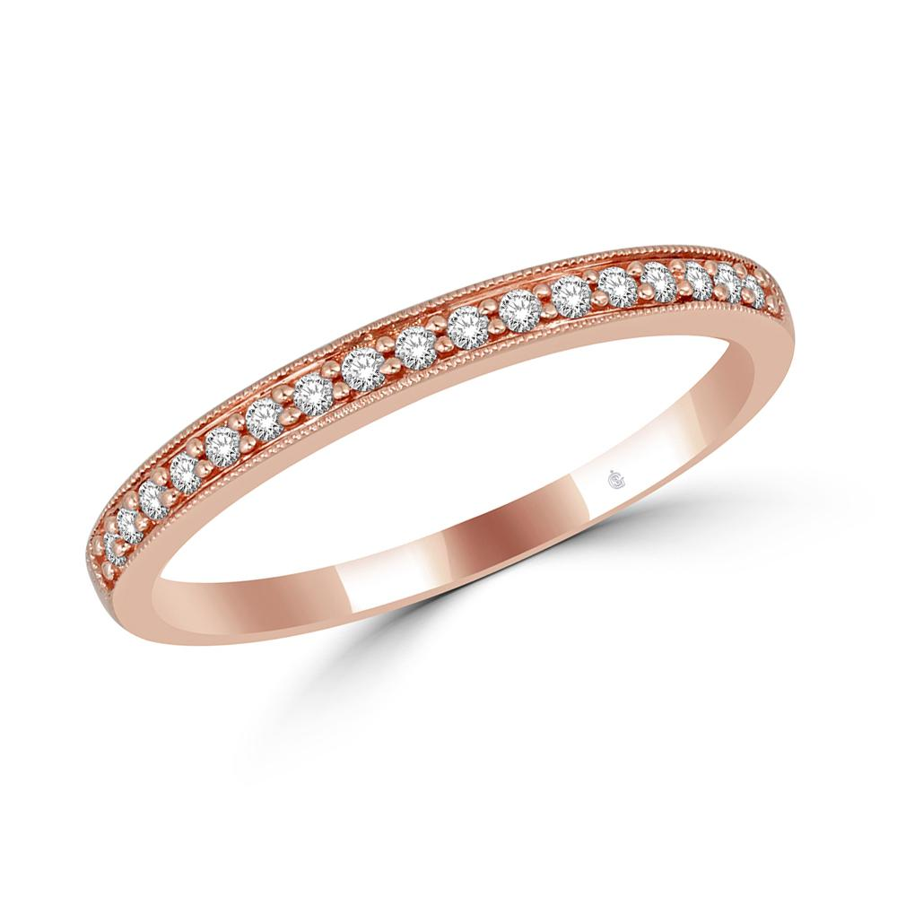 14K Rose Gold 1/8 Ct.Tw. Diamond Stackable Band