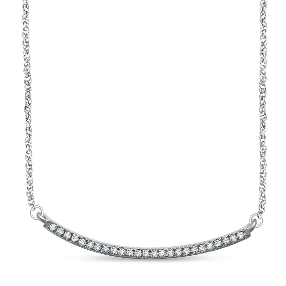 14K White Gold 1/6 Ct.Tw. Diamond Stackable Necklace