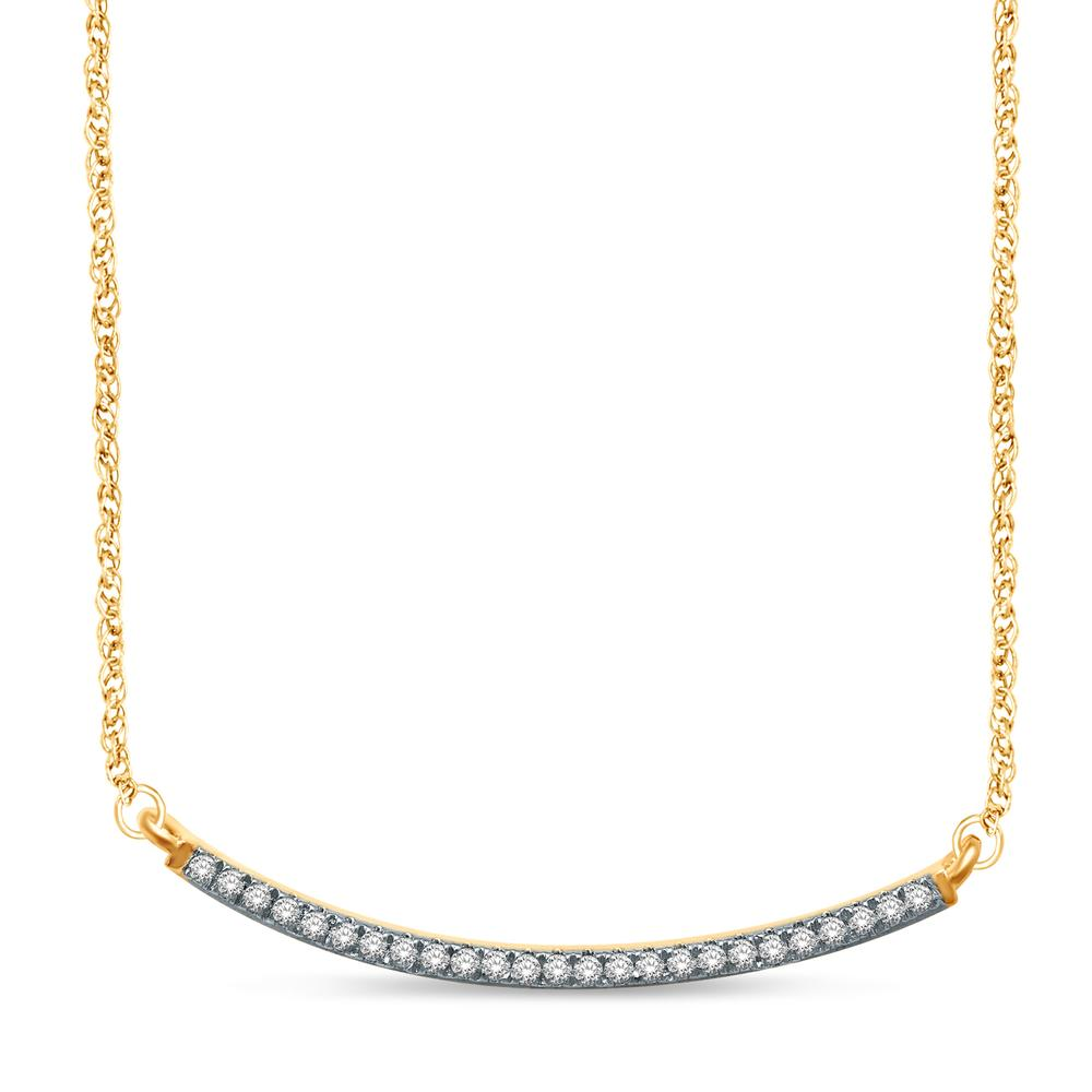 14K Yellow Gold 1/6 Ct.Tw. Diamond Stackable Necklace