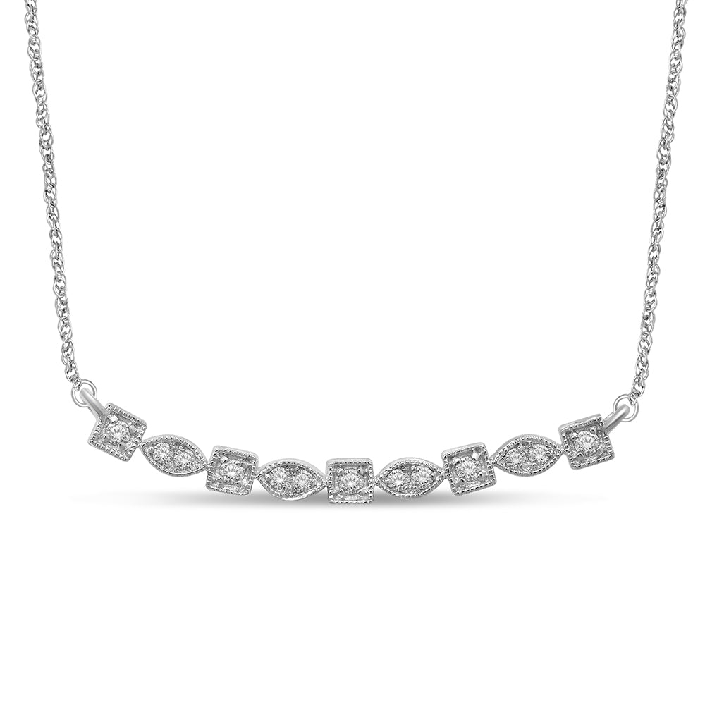 14K White Gold 1/5 Ct.Tw. Diamond Stackable Necklace