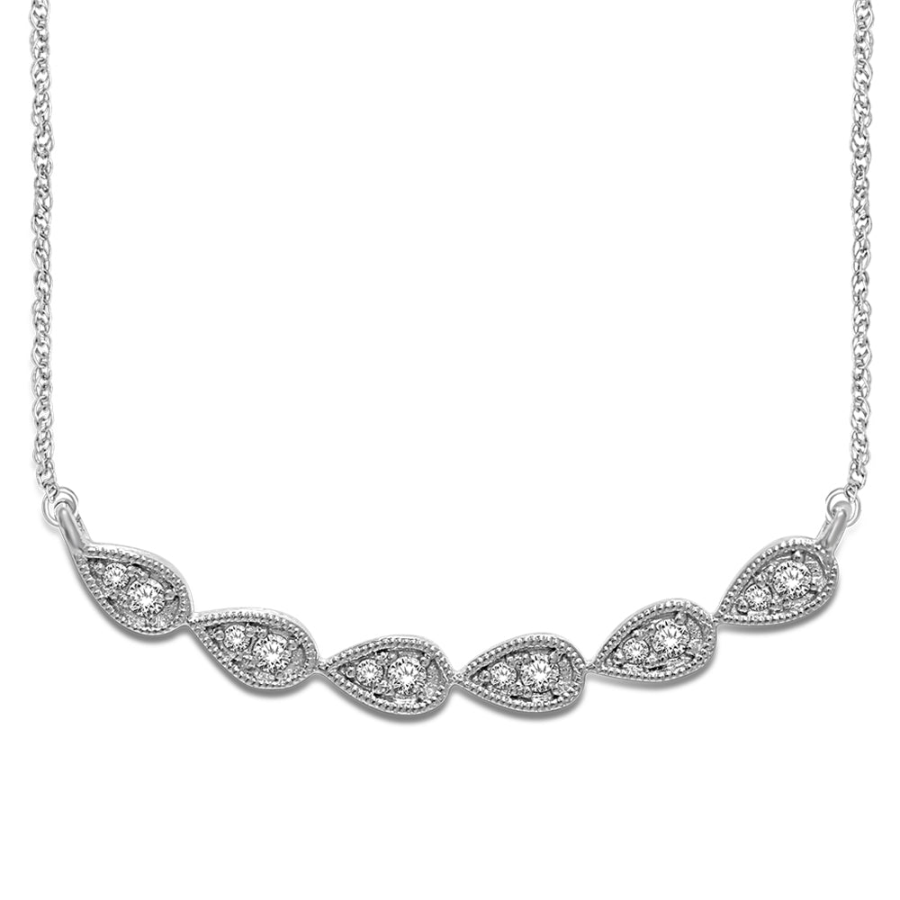 14K White Gold 1/8 Ct.Tw. Diamond Stackable Necklace