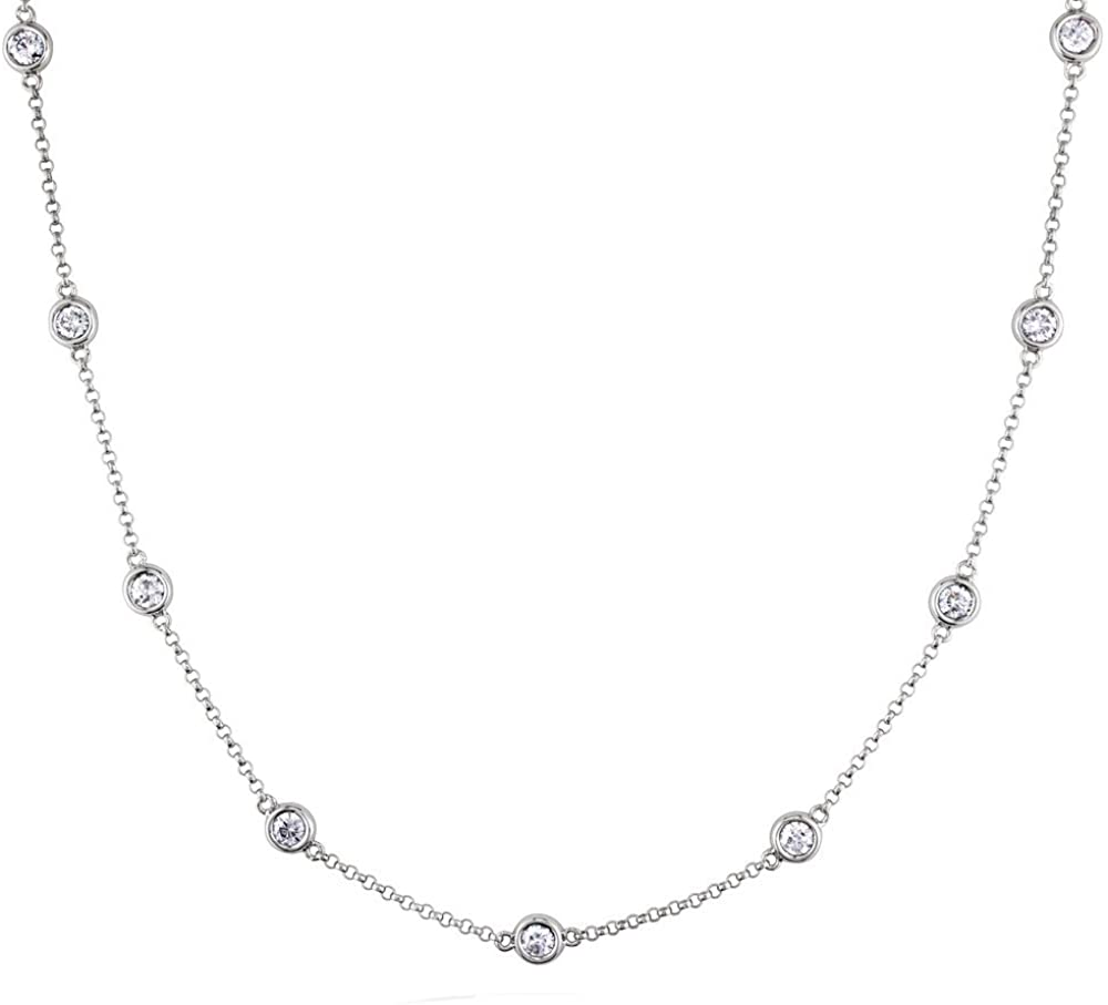 14kt White Gold Diamond Necklace  featuring 10 Bezel Set Diamonds
