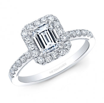 14kt White Gold Ring featuring Emerald Cut Diamond in the center with a Rectangle Shaped Halo