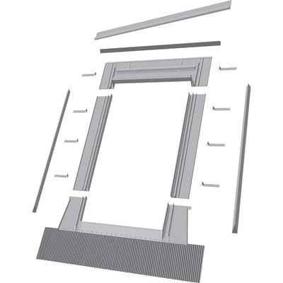 Fakro Aluminum High-Profile Tile Roof Flashing Kit for Curb Mount Skylight