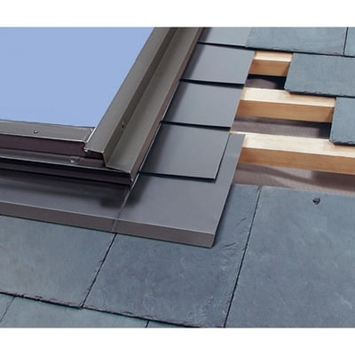 Image of Fakro Aluminum Low-Profile Shingle Roof Flashing Kit for Deck Mount Skylight