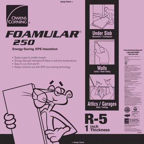 Image of Owens Corning FOAMULAR 250 XPS Insulation Board - All Sizes 1 in Owens Corning