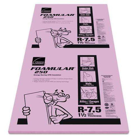 Image of Owens Corning FOAMULAR 250 XPS Insulation Board - All Sizes 1.5 in Owens Corning