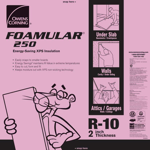 Image of Owens Corning FOAMULAR 250 XPS Insulation Board - All Sizes 2 in Owens Corning