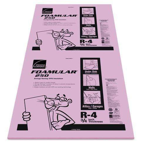 Image of Owens Corning FOAMULAR 250 XPS Insulation Board - All Sizes 3/4 in Owens Corning