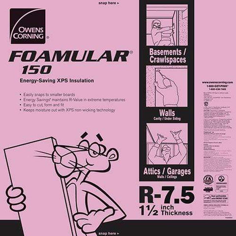 Owens Corning FOAMULAR 150 XPS 4ft x 8ft Insulation Board - All Sizes 1 in Owens Corning