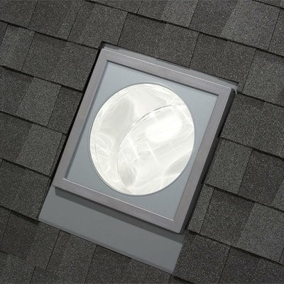 Image of 14 in. Flat Glass Rigid Sun Tunnel with Low Profile Metal Flashing and Solar Night Light