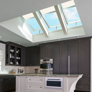 VELUX Fixed Deck Mount Skylight with Laminated Low-E3 Glass w/ White Solar Powered Light Filtering Blind