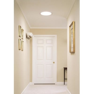 Image of Velux 14 in. Flat Glass Rigid Sun Tunnel with Low Profile Metal Flashing and Solar Night Light