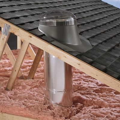 Velux Rigid Sun Tunnel with Acrylic Dome and Pitched Metal Flashing