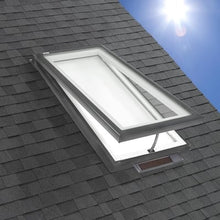 Load image into Gallery viewer, Solar Powered Venting Curb Mount Skylight with Laminated Low-E3 Glass and White Light Filtering Blind