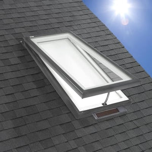 Solar Powered Venting Curb Mount Skylight with Laminated Low-E3 Glass and White Light Filtering Blind