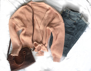 WRAP OVER CARDIGAN IN PINK