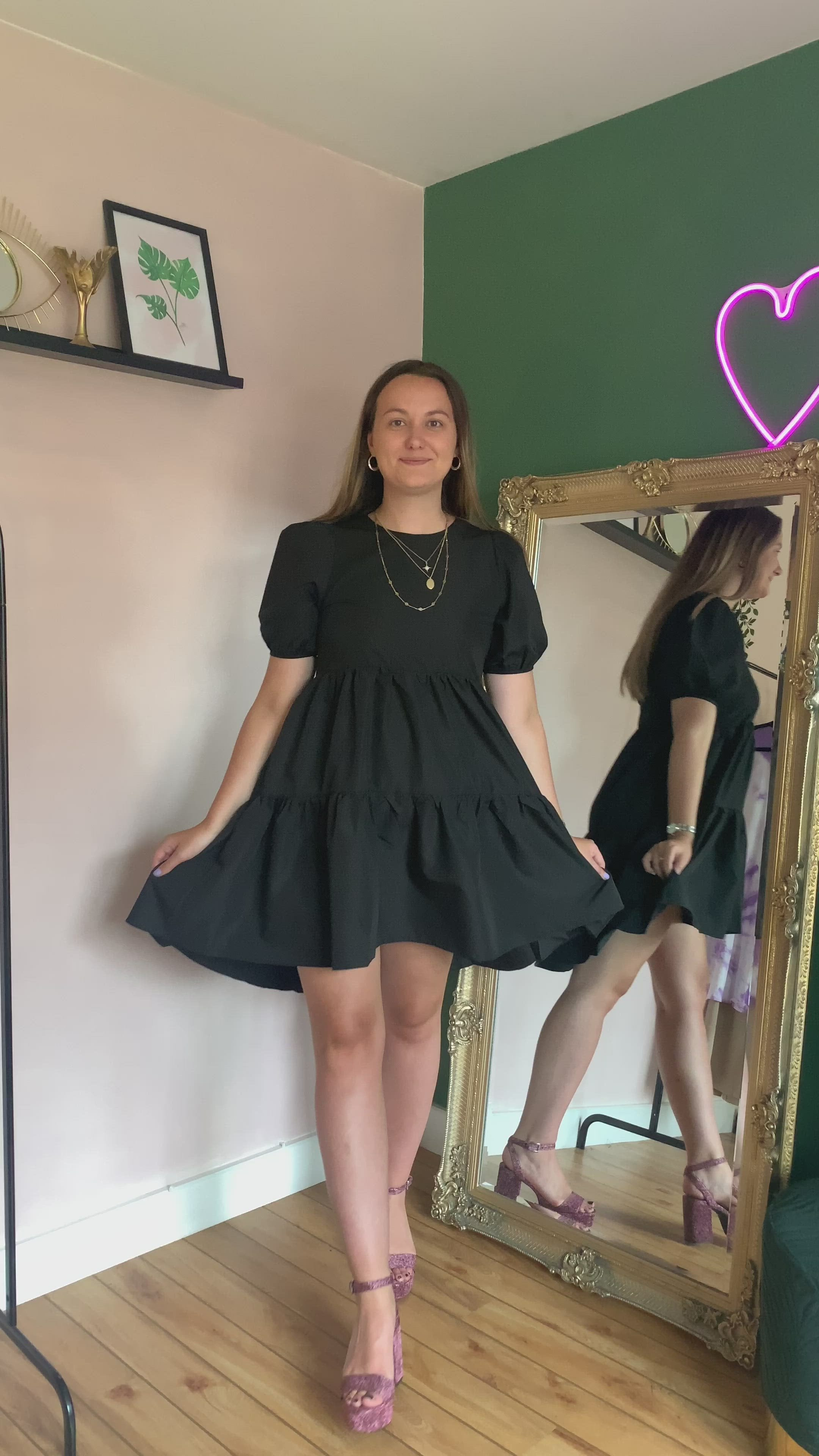 PUFF SLEEVE SMOCK DRESS IN BLACK