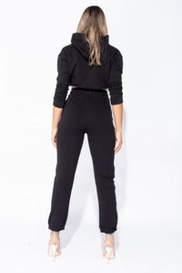 CROPPED HOODIE & JOGGER LOUNGE SET IN BLACK