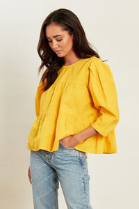 COTTON TIERED SMOCK TOP IN YELLOW