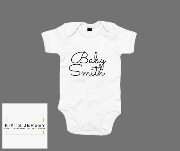 Personalised name baby grow 3 colours