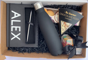 Personalised Notebook & Sweet Treats Gift Box (Black)