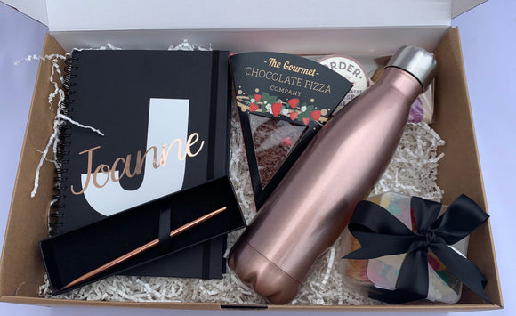 Personalised Notebook & Sweet treats Gift Set (Rose Gold)