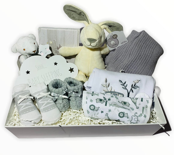 New Baby Hamper Grey and White