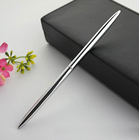 Silver ballpoint pen in gift box