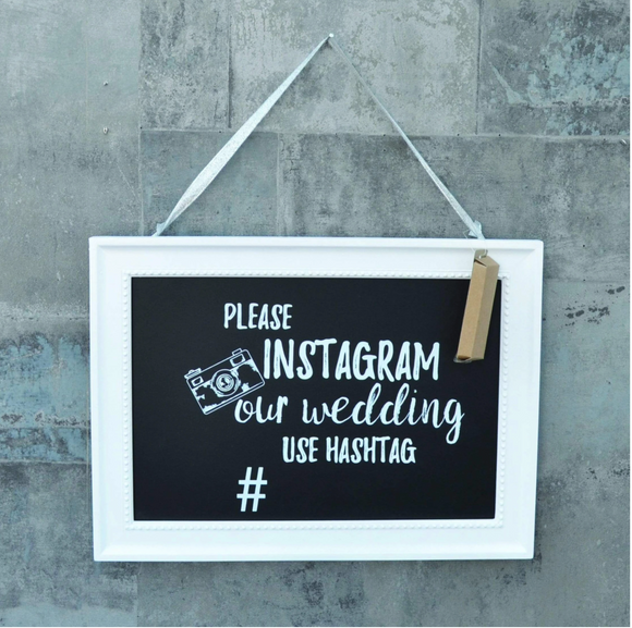 Instagram our Wedding Chalkboard with Chalk Black 35 x 26cm