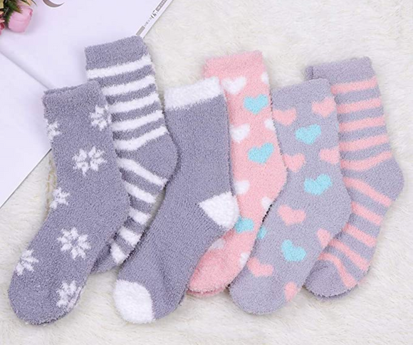 Slipper Socks Pinks & Greys