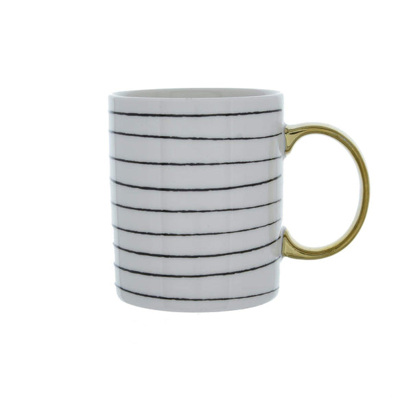 Monochrome Stripe Mug Gold