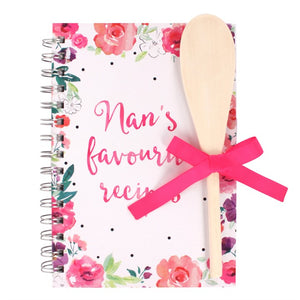 Nan's recipe book with personalised spoon.