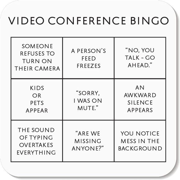 Coaster Office Bingo Card - Funny work from home gift / Zoom Meeting