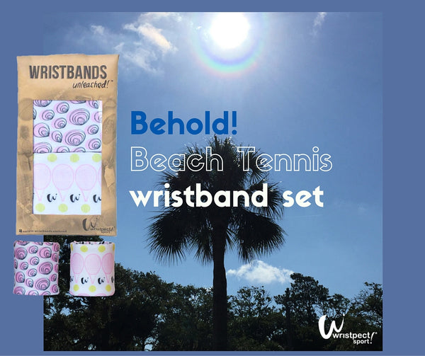 Beach Tennis wristband set shown amidst the palm trees of Hilton Head Island