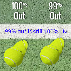 tennis balls 100 and 99 percent out