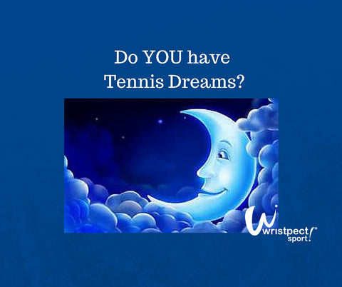 Moon and stars image with question: Do you have tennis dreams?