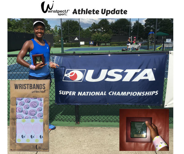 Jamilah Snells Wristpect Sport Athlete shown wearing Beach wristband with gold ball award
