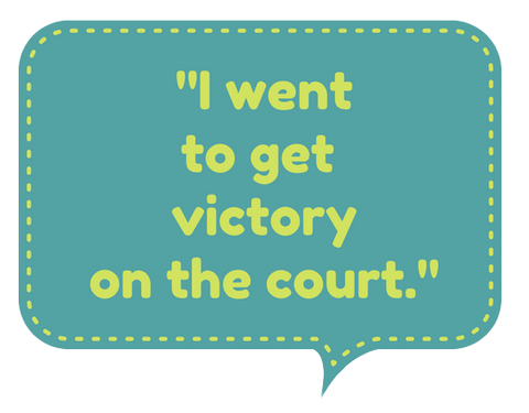 Speech bubble with Roger Federer quote on winning