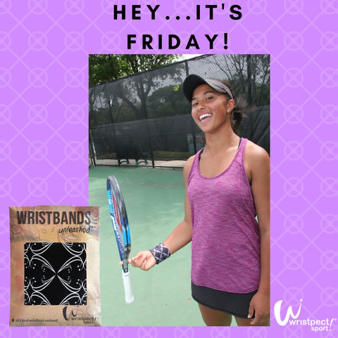 Tennis Player wearing Wristpect Sport Alley wristband
