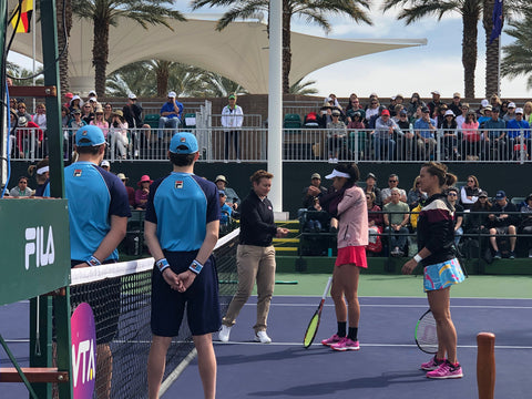 Chair Umpire tossing the coin at BNP Paribas Indian Wells California