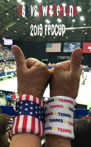 Spirit wristband with Stars wristband on thumbs up at Fed Cup 2019