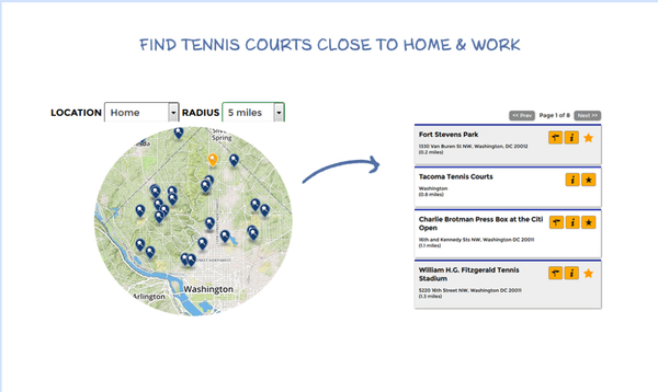 Tennis Central's iPhone app to find courts