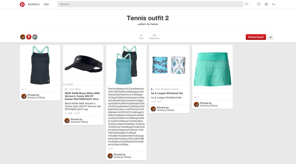 Pinterest board showing Nike, Bolle, Wilson and Wristpect Sport