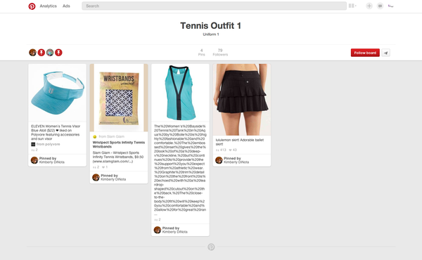 Pinterest board showing Eleven, Bolle, Lululemon and Wristpect sport