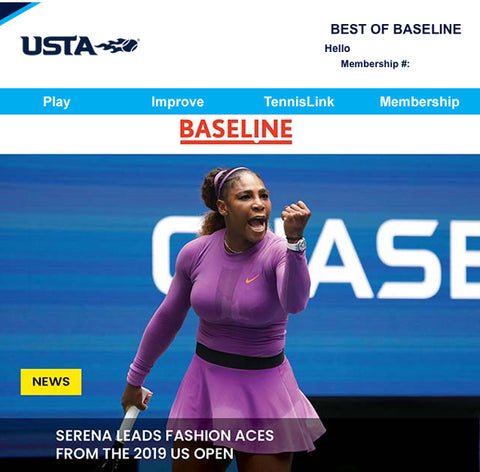 Serena Williams and headline about fashion aces