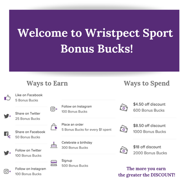 Wristpect Sport Bonus Bucks on Tennis Wristbands